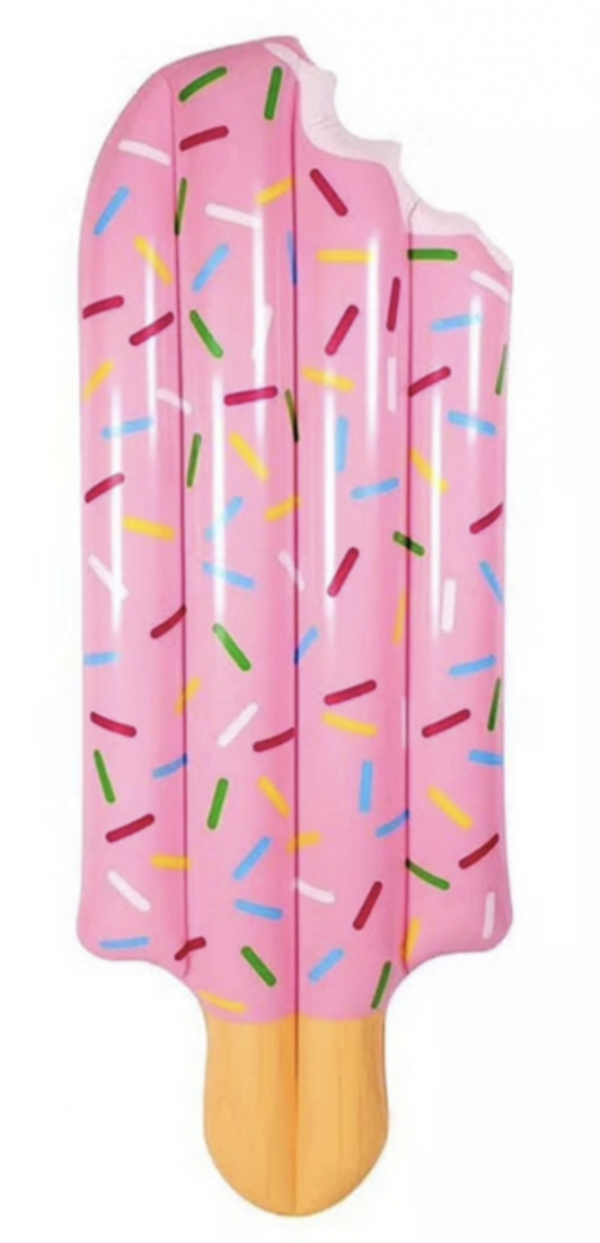 pink popsicle pool float with sprinkles